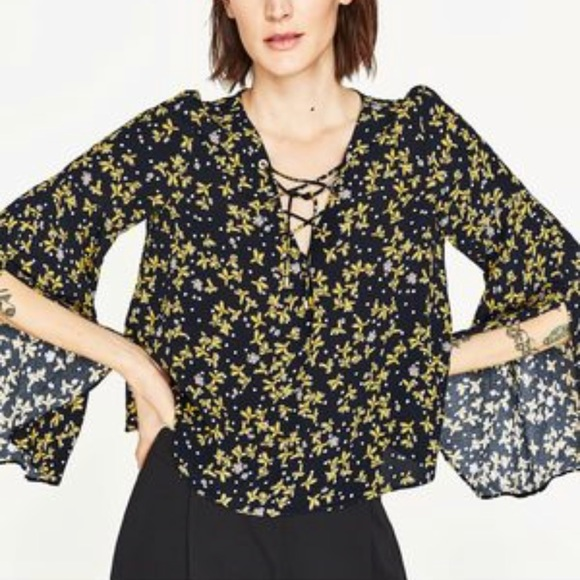 Zara Pleated Floral Hippie Top for Women